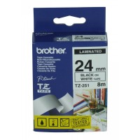 Brother cinta rotula. TZ251 negro/blanco 24mm x 8m