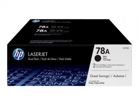 HP toner negro 78A CE278AD pack 2 unidades 2100 pá