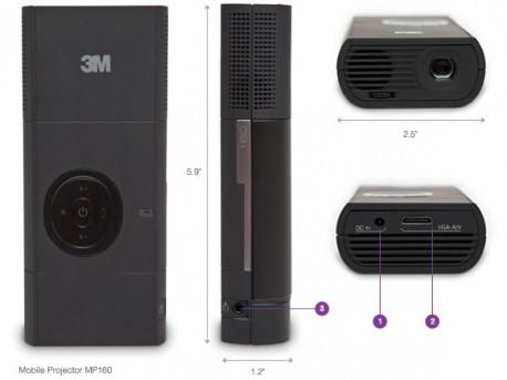 3M Videoproyector MPro160 micro Led 30Lúmenes.