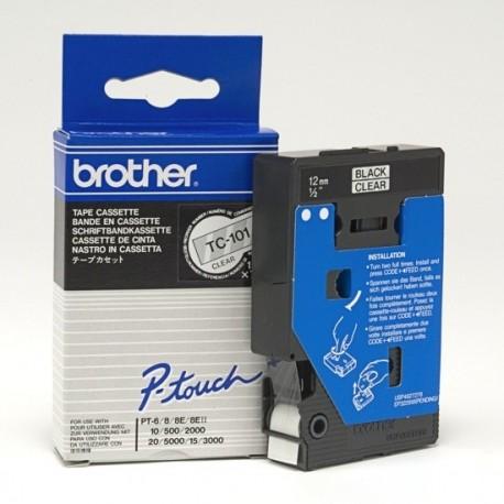 Brother cinta rotula. TC101 negro/transf. 12mmx 7m