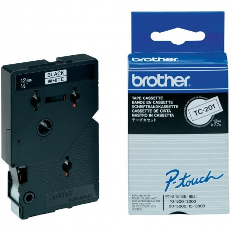 Brother cinta rotula. TC201negro/blanco 12mm x 7m.