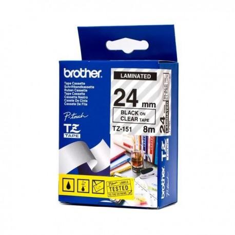 Brother cinta rotula. TZ151 negro/trans. 24mm x 8m
