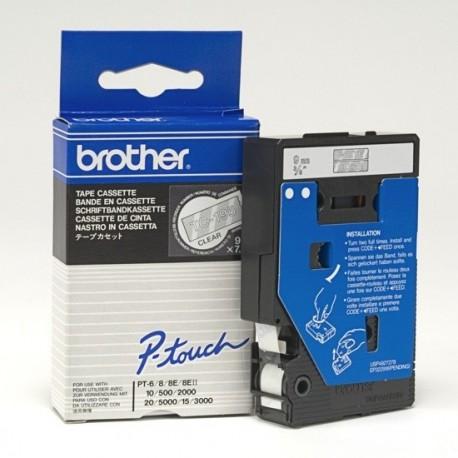 Brother cinta rotula. TC195 blanco/trans. 9mm x 7m