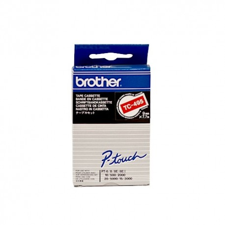 Brother cinta rotula. TC495 blanco/rojo 9mm x 7m.