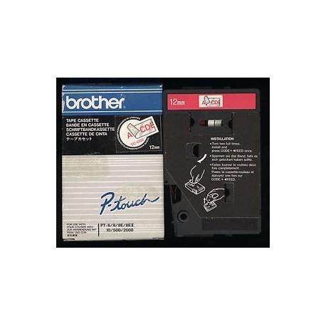 Brother cinta rotu. TC002 rojo/transf 12mm x 7m