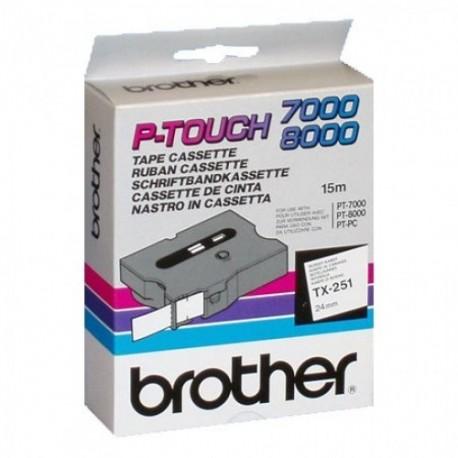 Brother cinta rotula. TX251 negro/blanc 24mm x 15m
