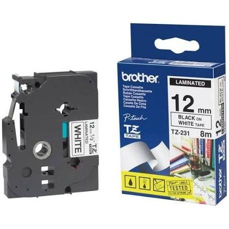 Brother cinta rotulador TZe231 negro/blanc 12mmx8m