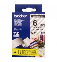 Brother cinta rotula. TZ111 negro/trans. 6mm x 8m