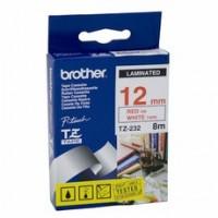 Brother cinta rotula. TZ232 rojo/blanc 12mm x 8m.