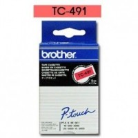 Brother cinta rotuladora TC491 negro/rojo 9mm x 7m