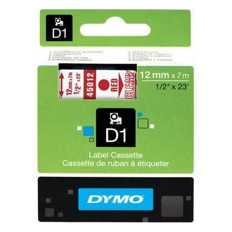 Dymo cinta rotuladora 45012 rojo/trans. 12mm x 7m