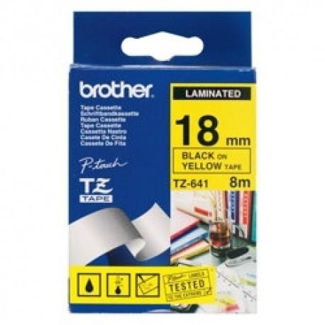 Brother cinta rotula. TZ641 negro/amari. 18mm x 7m