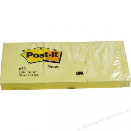 3M Post-it notas 653 38x51 mm pack 3 unidades