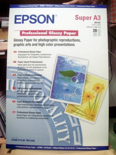 Epson papel S041457 A3+ Glossy profesional - 215gr