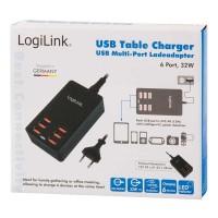 Logilink cargador USB 6 puertos 32W PA0139